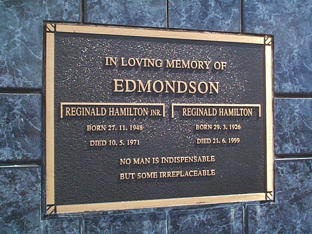 EDMONDSON Reginald Hamilton