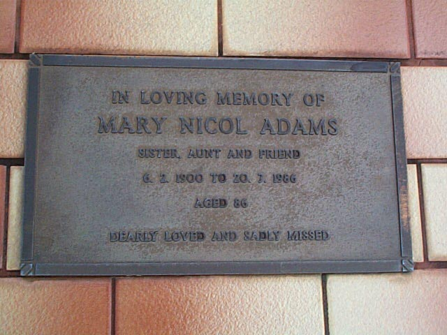 ADAM  Mary Nicol